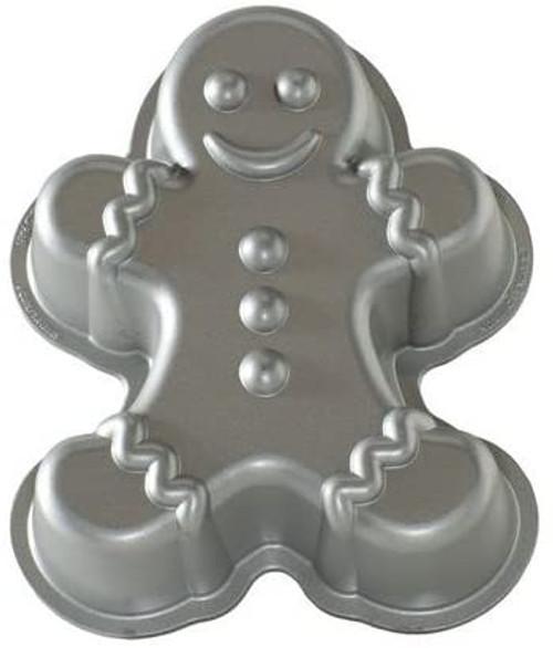 Nordic Ware Gingerbread Man Cast Aluminium Non Stick Cake Pan - Silver