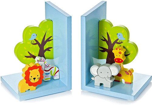 Mousehouse Gifts 3D Safari Themed Wooden Children's Animal Bookends
