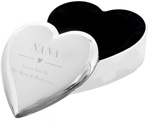 NANA I LOVE YOU TO THE MOON & BACK small heart Silver finish TRINKET BOX