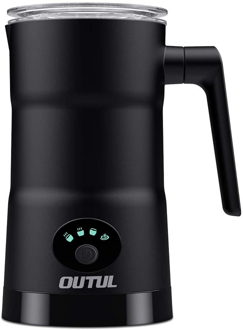 Milk Frother,OUTUL Electric Milk Steamer with 4 Setting Hot & Cold Functionality Stainless Steel Automatic Milk Warmer Frother for Latte/Coffee/Hot Chocolate/Cappuccino