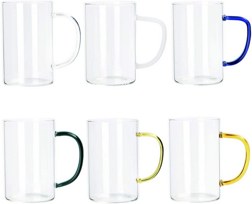 300ml Water Glass Cups Coffee Mugs Insulated Tea Latte Cocoa Espresso Cappuccino Hot Drinks Glasses with Handle Set of 6(Set of 6)