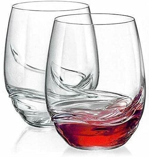 HUIJK Set of 2 Large Stemless Turbulence Vintage Red Wine Crystal Glasses 500ml