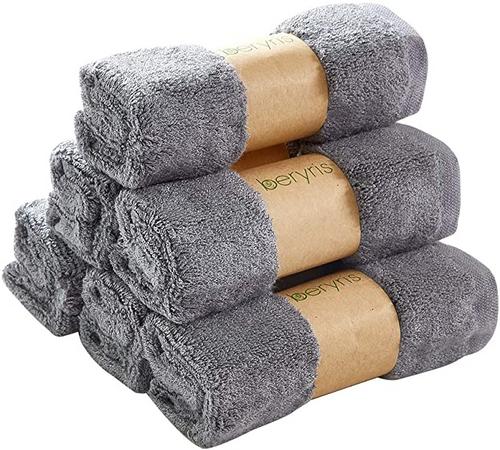 Beryris Bamboo Wash Cloths Bamboo Face Cloth (Pack of 6)
