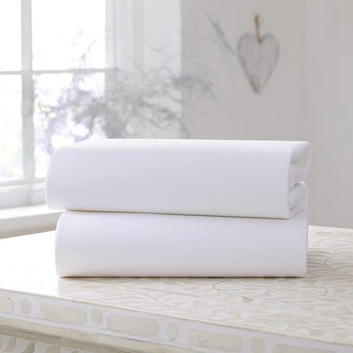 Clair de Lune 2 Pack Cotton Jersey Fitted Cot Sheets - 120 x 60 cm