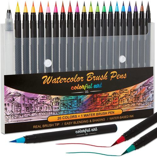 Colorful Art Co. Brush Pens - 20 Piece Watercolour Pen Set w/Premium Brush Tip