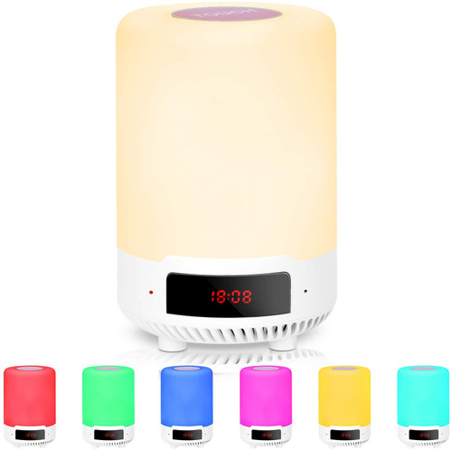 RUMIA Bluetooth Speaker Lamp, LED Night Light,Touch Sensor Control, USB Rechargeable, Music and Alarm Clock, Bedside Table Lamp, Dimmable Warm White Light & 7 Color Changing RGB for Bedrooms