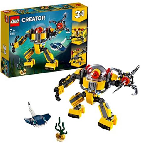LEGO 31090 Creator Underwater Robot, Crane and Submarine, 3 in 1 Seaside Adventures Building Set with Manta Ray Fish
