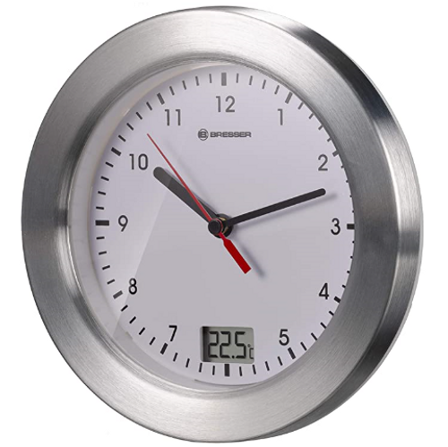 Bresser Wall Clock for Bathroom with Temperature Display