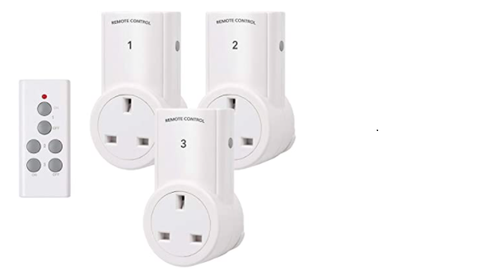 HBN Remote Control Plug Socket, Wireless 10A/2400W Light Switch, 30M/100ft Operating Range, for Household Appliances, 3 Pack Sockets and 1 Remote