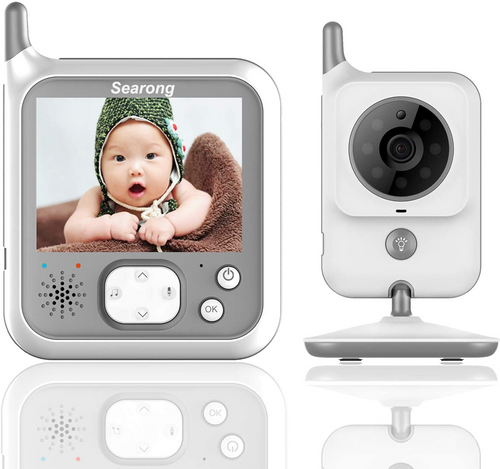 Baby Monitor Video Baby Monitor with Camera Wireless Searong Digital Camera for Baby 3.2 Inch with Night Light Long Range and Long Battery,Talk Back,Temperature Sensor, Night Vision,Lullabies,VOX