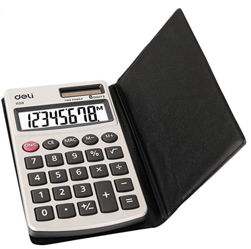 Pocket Calculator with Faux Leather Cover