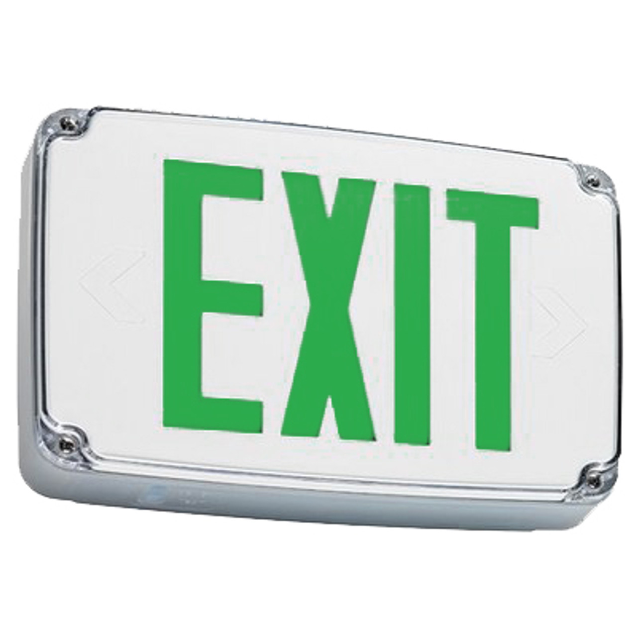 Outdoor Exit Sign with Green Letters