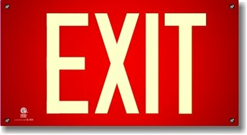Photoluminescent Exit Sign with Red Background