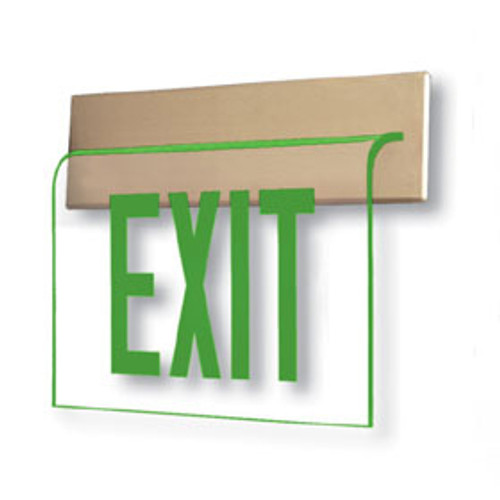 Wall Recessed Edge Lit Exit Sign with Green Letters