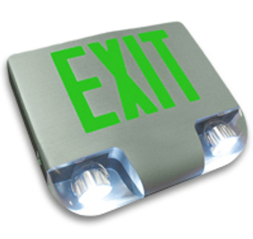 Aluminum Exit Sign Combo with Green Letters