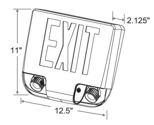 Aluminum Exit Combo Red LED with Emergency Lights