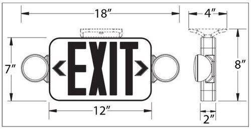 Mini Red LED Exit Sign Emergency Combo with Directional Lights