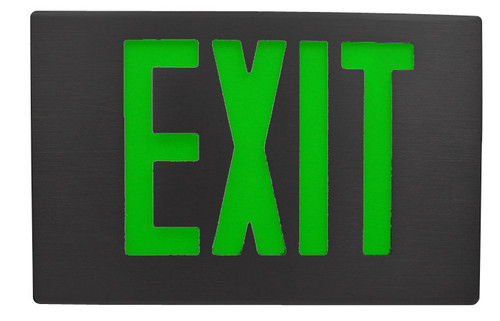 Black Aluminum Exit Sign with Green Letters and Universal Face