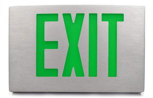 Brushed Aluminum Exit Sign with Green Letters and Universal Face