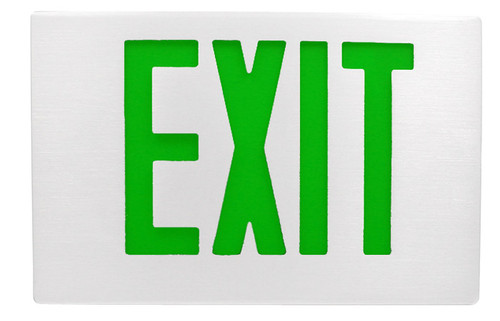White Aluminum Exit Sign with Green Letters and Universal Face