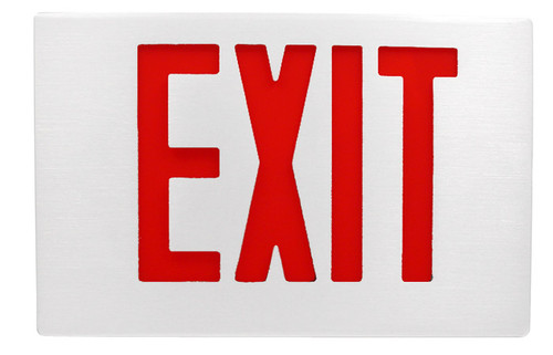 White Aluminum Exit Sign with Red Letters and Universal Face