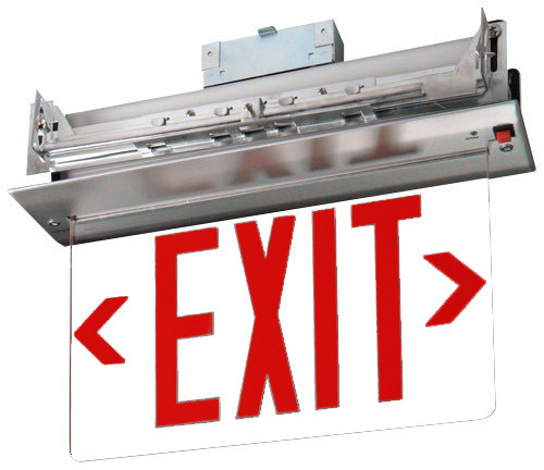 Recessed Edge Lit Exit Sign with Red Letters