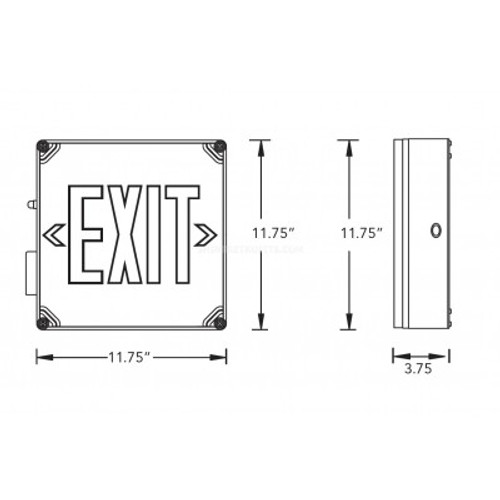 Self-Testing Wet Location Exit Sign with Red Letters