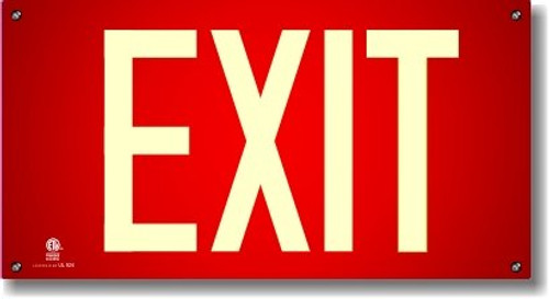 Glow-In-The-Dark Exit Sign with Red Background