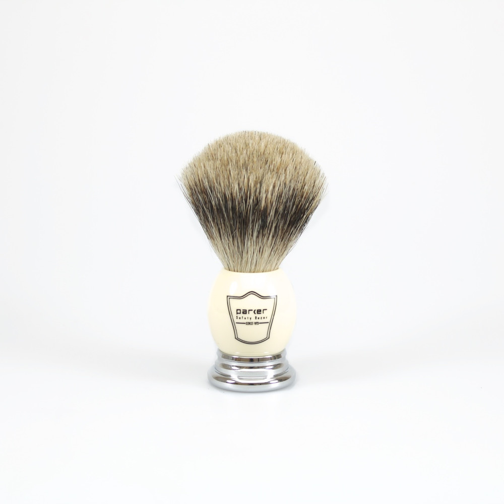 Parker Pure Badger Shaving Brush w/ Ivory Handle