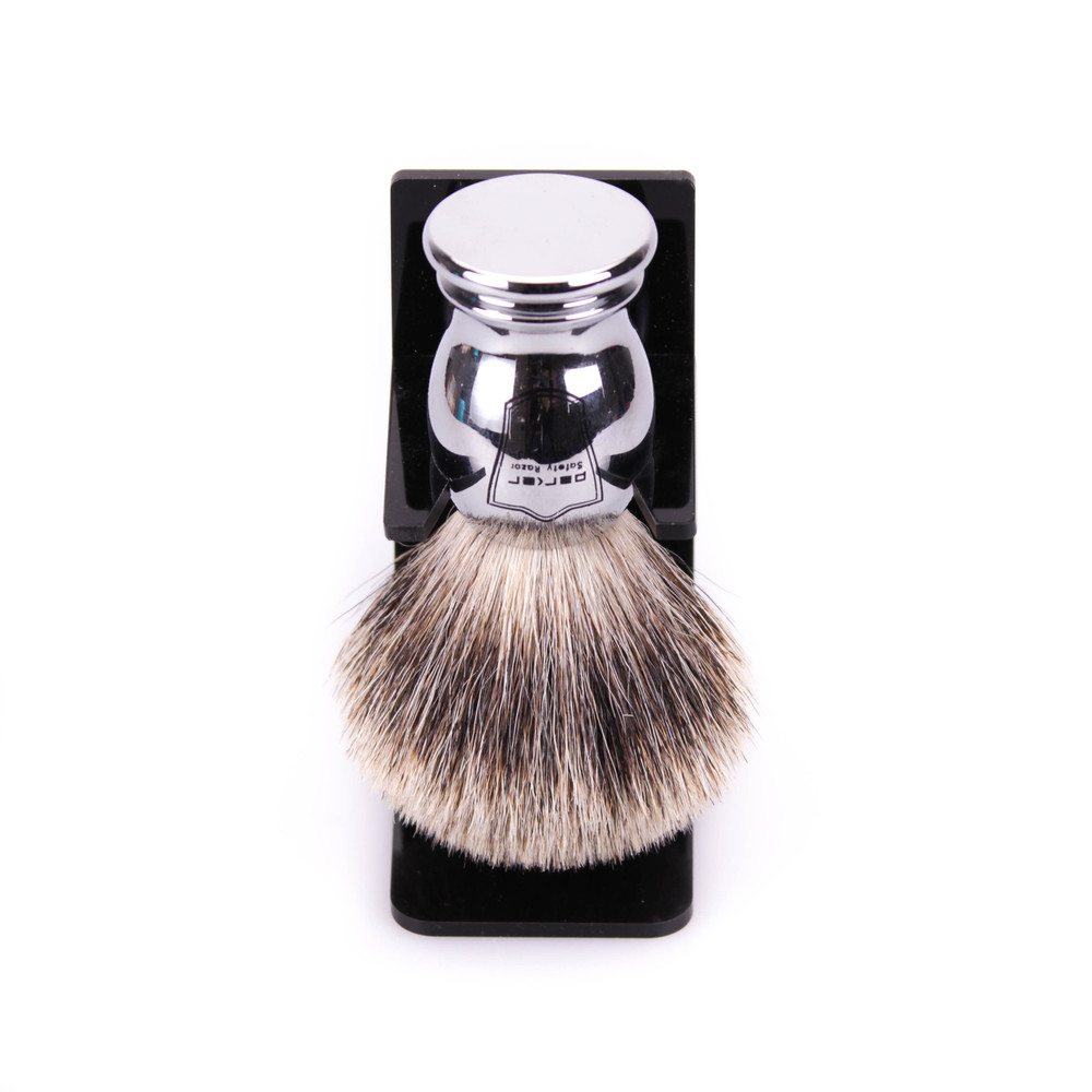 Parker Pure Badger Shaving Brush w/ Chrome Handle