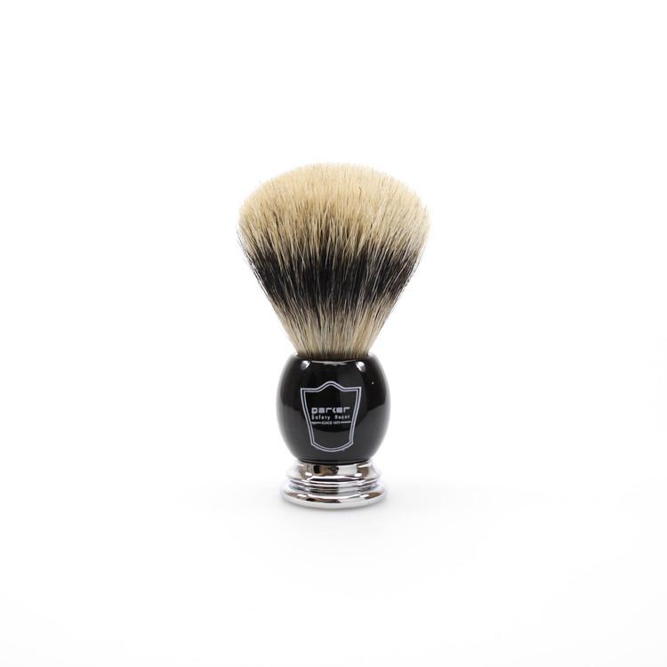 Parker Silvertip Badger Shaving Brush w/ Black Handle