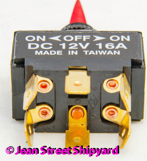 On Toggle Switch for Boats Red Illuminated DPDT 3 Position On Off