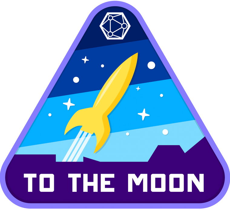 "Blue ""To the Moon"" Sticker"