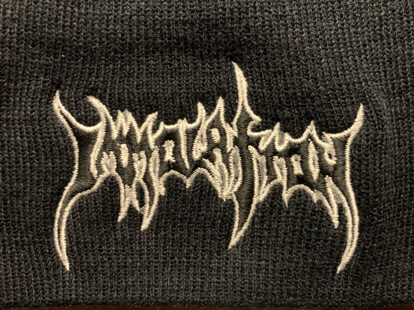 BEANIE CAP:  Embroidered Black Logo w/WHITE Outline