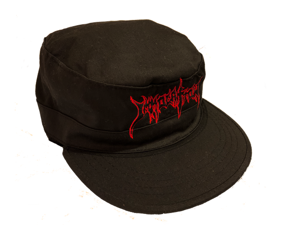 Military Cap:  Embroidered Black Logo w/Red Outline