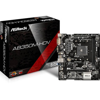 ASRock AB350M-HDV Socket AM4/ AMD B350/ DDR4/ SATA3&USB3.0/ M.2/ A&GbE/ MicroATX Motherboard