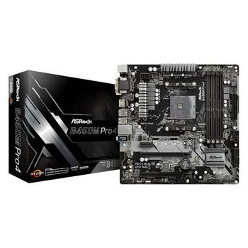 ASRock B450M PRO4 Socket AM4/ AMD Promontory B450/ DDR4/ Quad CrossFireX/ SATA3&USB3.1/ M.2/ A&GbE/ MicroATX Motherboard