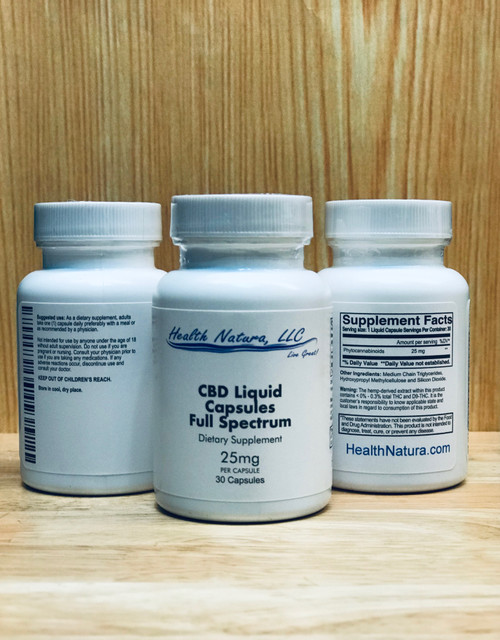 CBD Liquid Caps 25mg - Full Spectrum 30ct