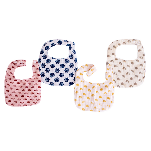 Soft Plushy Bibs | Two Layer | 4-pack