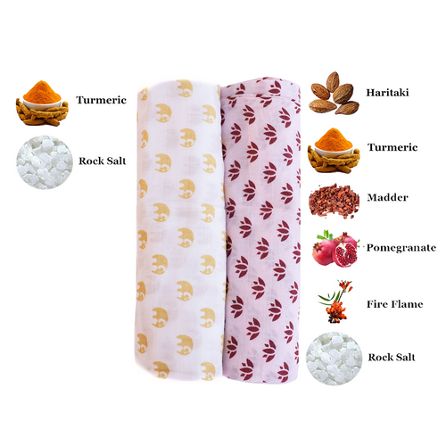 Swaddle Me Nature | One Layer | 2-pack Lotus Lullaby & Sunshine Tusks
