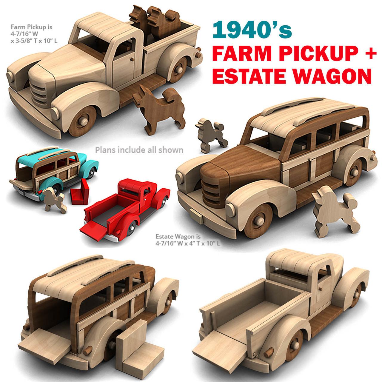 1940 farm pickup & estate wagon wood toy plans (2 pdf downloads)