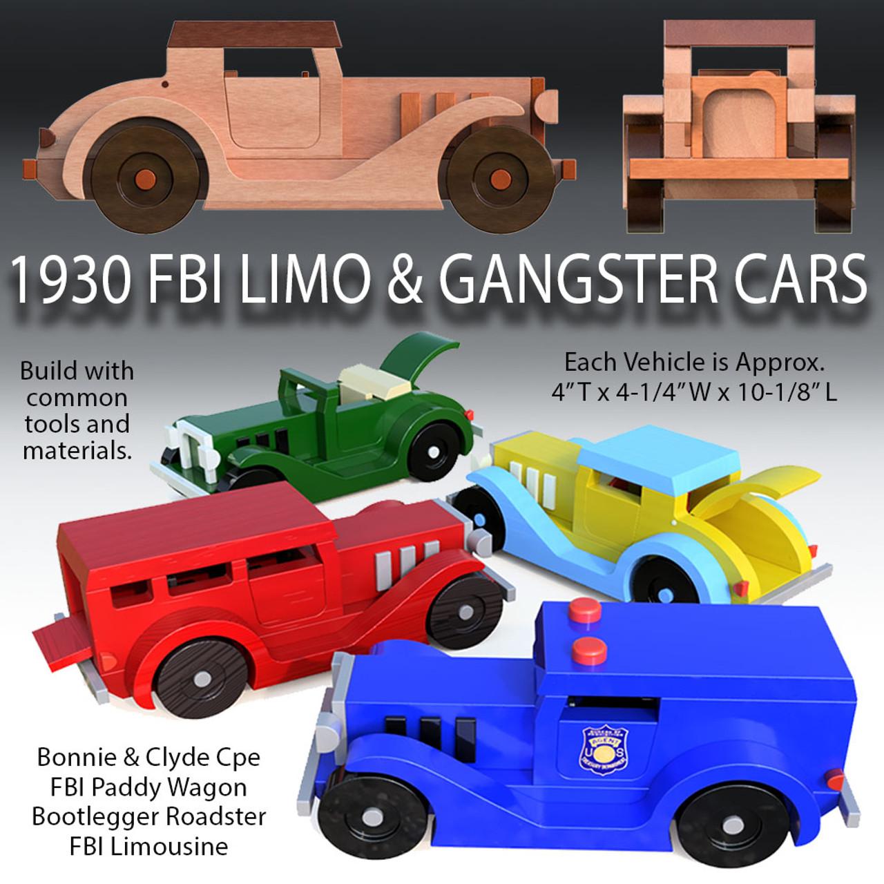 1930 fbi limo & gangster cars wood toy plans (4 pdf downloads)