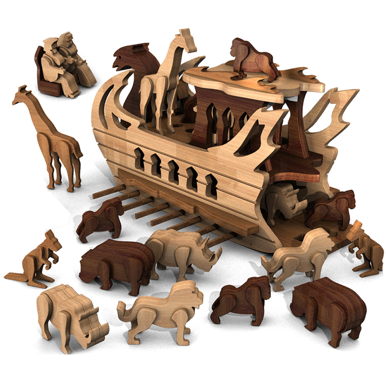 ancient persia zoo galley ship with king & animals wood toy plans (pdf  download)