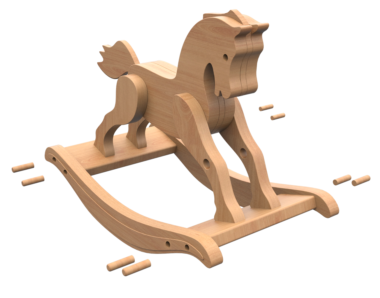 antique 1890 rocking horse wood toy plans (pdf download)