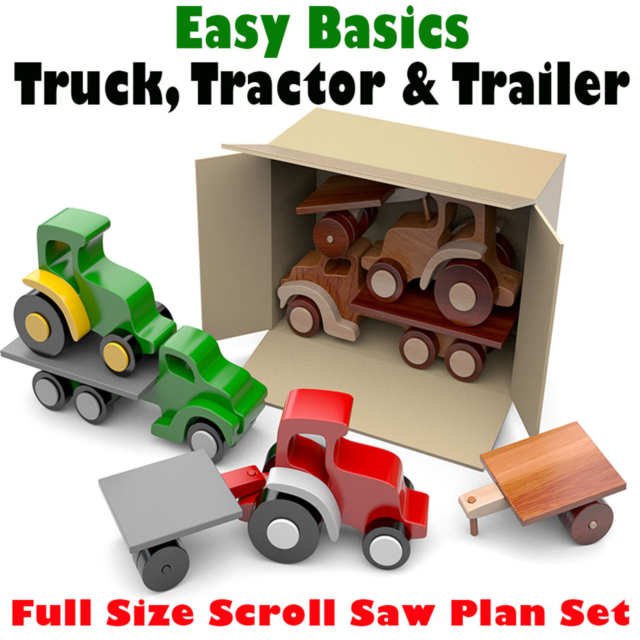 easy basics truck, tractor & trailer wood toy plans (pdf download)