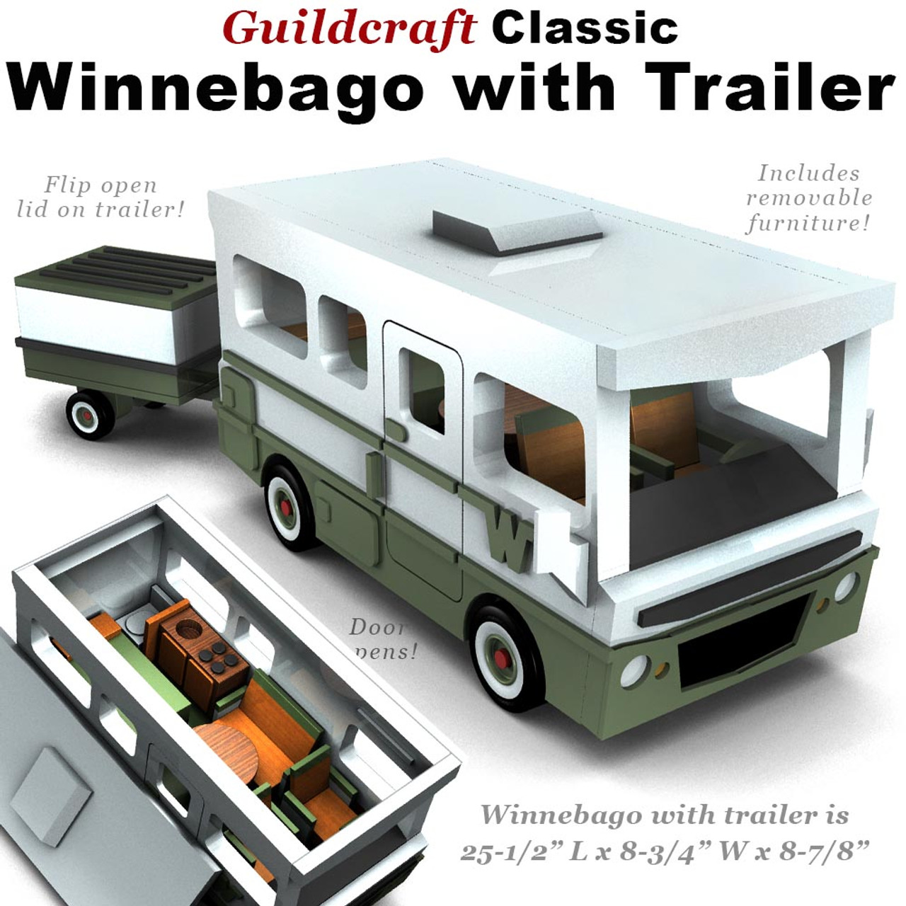 Guildcraft Classic Winnebago with Trailer Wood Toy Plans (PDF Download)