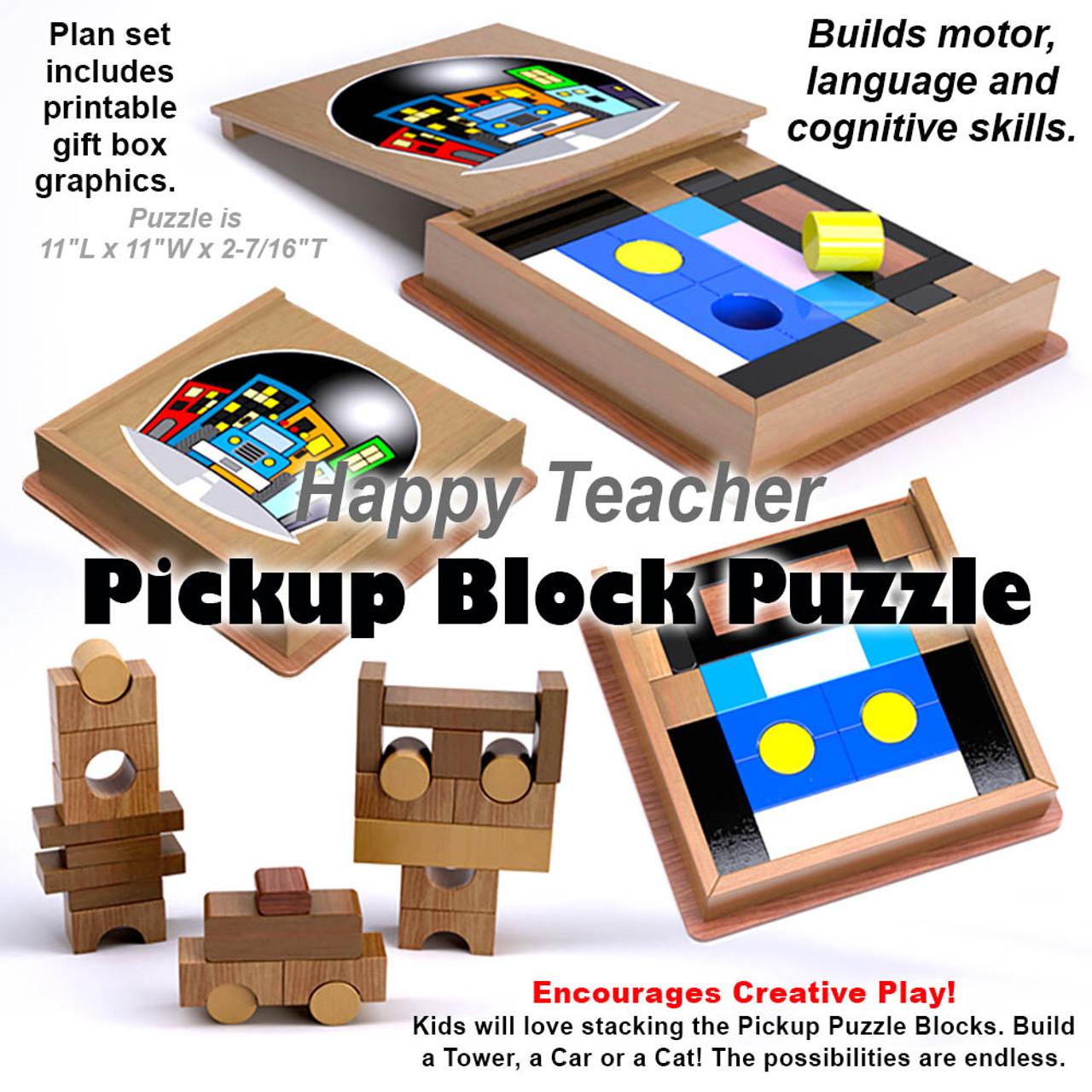 Happy Teacher Pickup Truck Block Puzzle Wood Toy Plans (PDF Download)