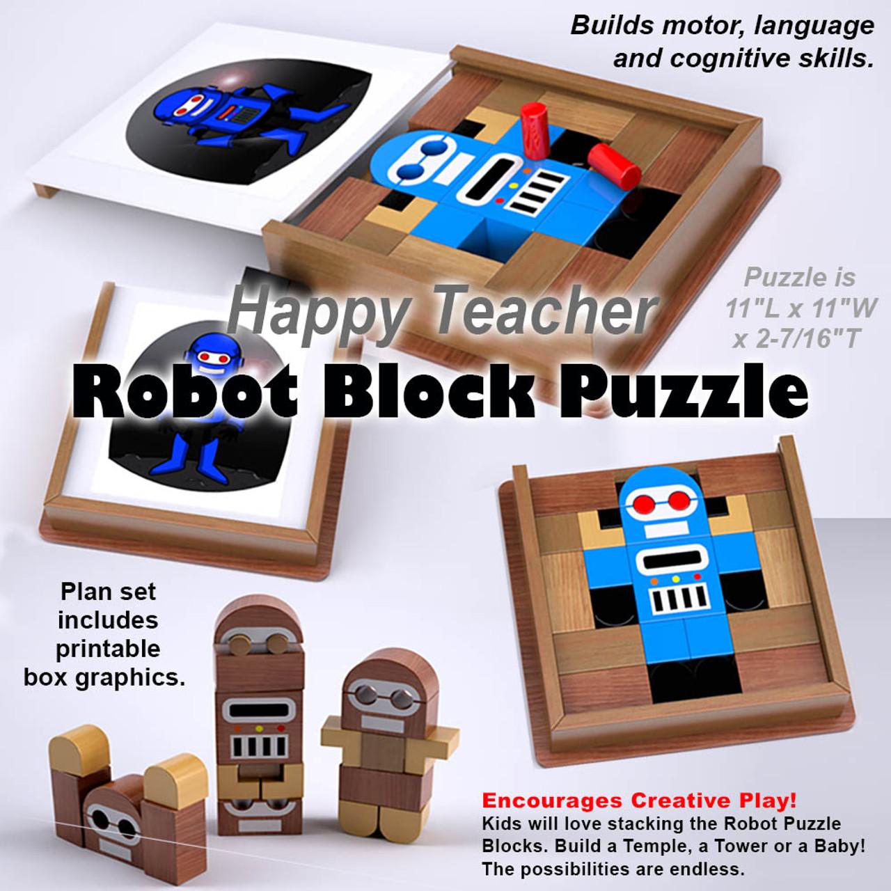 happy teacher robot block puzzle wood toy plans (pdf download)