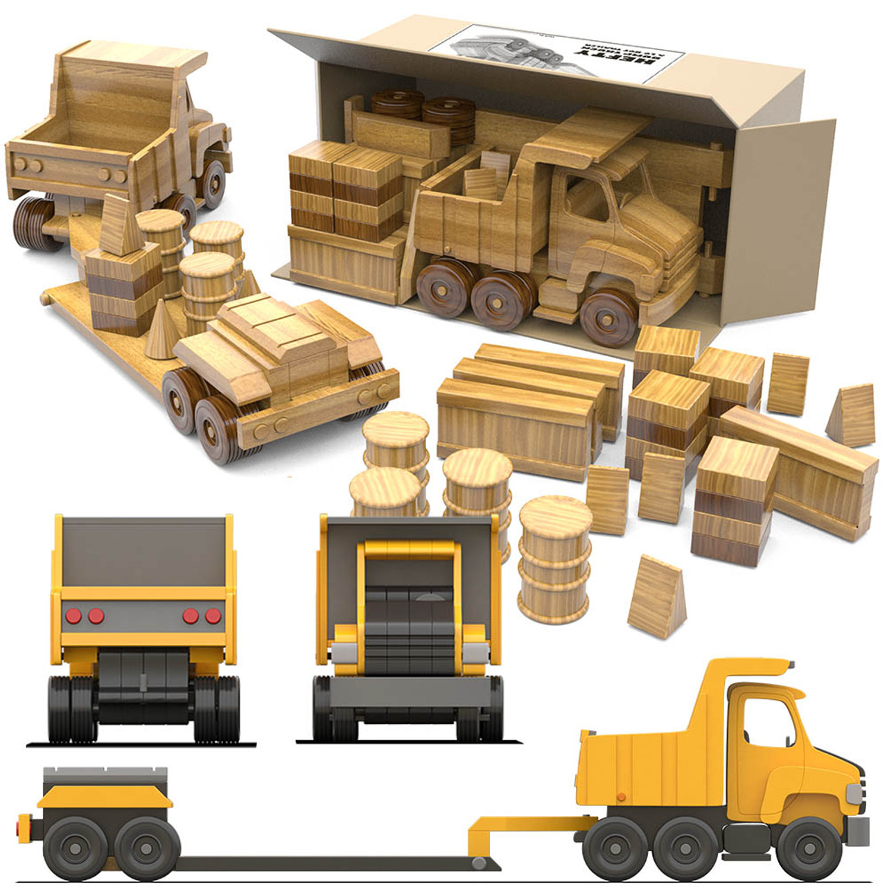 hefty dump truck and lo-boy trailer wood toy plans (pdf download)