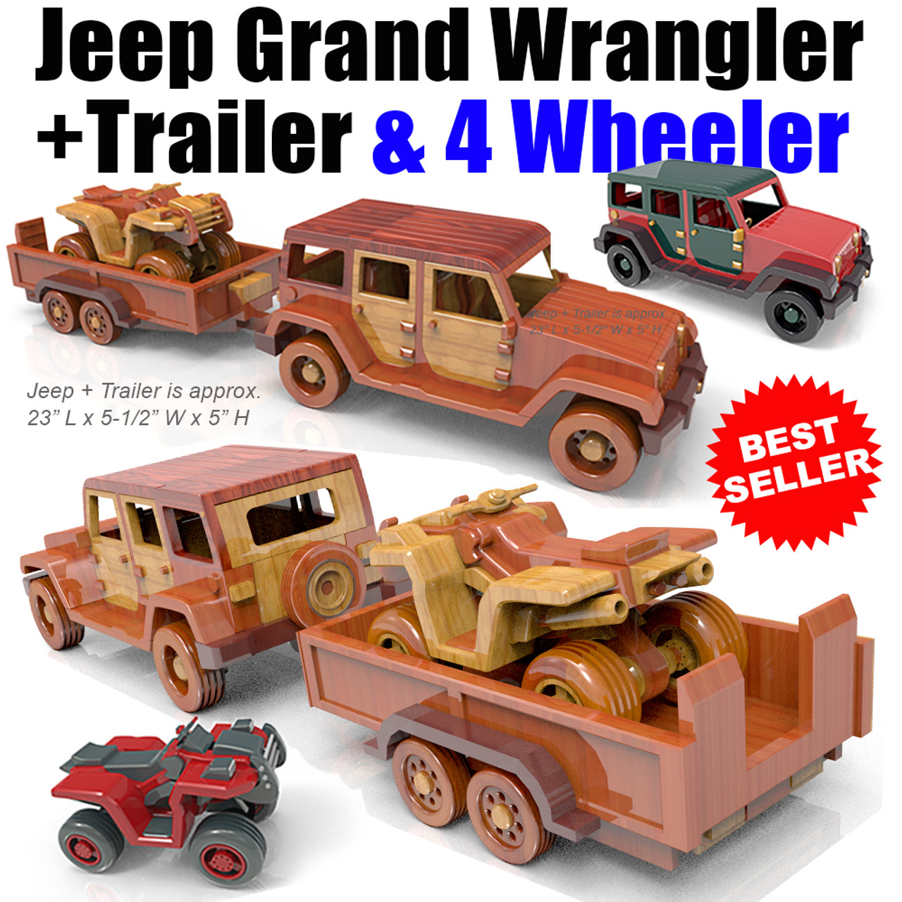 jeep grand wrangler + trailer & 4-wheeler wood toy plans (2 pdf downloads)
